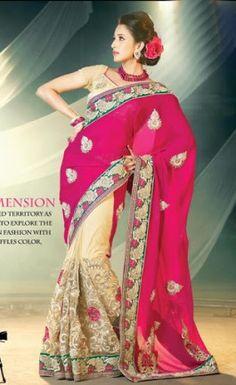 Deep Pink & Cream Color Saree