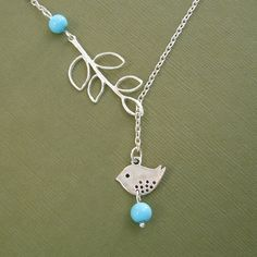 Bird Necklace Turquoise And Branch Lariat Style by TatyanaVictory, $19.99