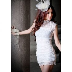 $10.09 Slimming and Fashionable Transparent Lace Hem Embellished Solid Color Sleeveless Mini Dress For Women