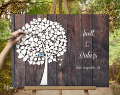 Unique Wedding Tree & Guest Book Design by CristalPainting Wedding Tree Guest Book, Personalized Wedding Guest Book, Guest Book Tree, Tree Wedding, Wedding Signs, Guestbook Wedding, Fingerprint Tree, Roll Up Design, Personalised Canvas