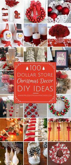 100 Dollar Store Christmas Decor DIY Ideas #ChristmasDIYcrafts