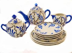 Art Deco Czech Bohemian Tea Set Hand Painted Tea Pot Cream