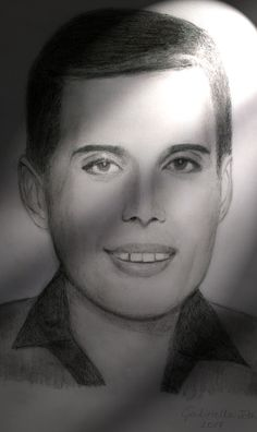 "Freddie Mercury (Queen) pencil drawing (portrait) by Gabriella Tóth ""I still love you"""