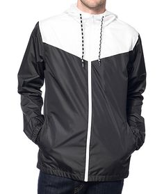 Be prepared when the weather takes a turn with the protective shell of the Zine Marathon windbreaker jacket. This lightweight windbreaker has a two tone white and black color blocked designed polyester shell to block light winds and rain plus an adjustabl