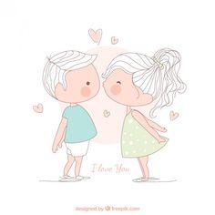 Muchacha que besa a un chico, ilustración Vector Gratis