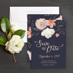 Floral Chic Save The Date Cards in navy blue by Emily Crawford   Elli