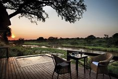 The two lovely game lodges at Lion Sands in Kruger National Park ( formerly known as Tinga ) offer the ultimate combination of luxury and first-class service in the heart of the untamed African bushveld of South Africa. Outdoor Rooms, Outdoor Living, Outdoor Decor, Game Reserve South Africa, Sand Game, Game Lodge, Sleeping Under The Stars, Kruger National Park