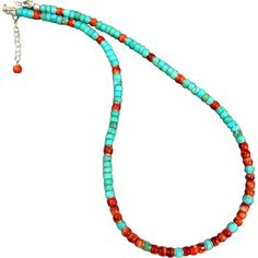 Southwestern Turquoise And Spiny Oyster Sterling Silver  Necklace This brightly colored Southwestern style necklace contains natural 6mm Kingman Turquoise and gorgeous Spiny Oyster Beads with sterling silver accents. The necklace measures 18 inches with a sterling silver lobster clasp and 2 inch extender.