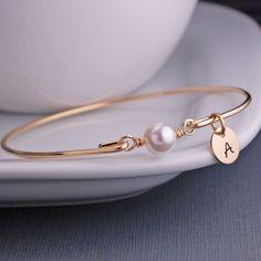 Gold Pearl Bangle Bracelet