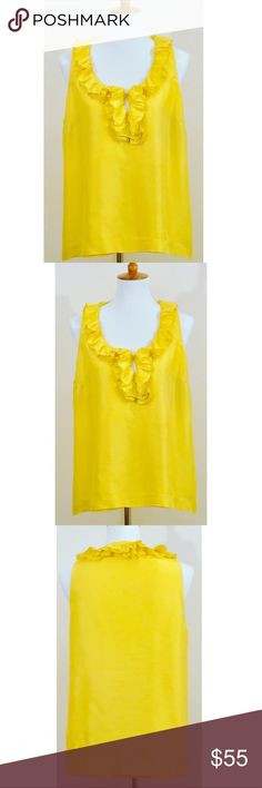 "Kate Spade Live Colorfully Yellow Ruffle Neck Top Elegance finds its new meaning in this super classy yet fun and sassy Kate Spade silk, vibrant, yellow ruffle style sleeveless blouse. It's a flowy top which is perfect for the days you feel ""bloated"" but want to still look cute, chic and effortlessly beautiful. EUC kate spade Tops Blouses"