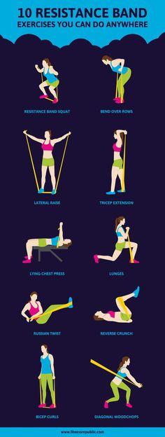 10 Resistance Band Exercises...good for travel / 10 ejercicios con bandas de resistencia... excelente para cuando estas de viaje