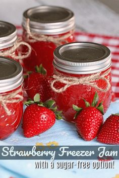 This Strawberry Freezer Jam far outweighs any store-bought jam hands-down. My favorite thing to make when strawberries are in season! Freezer Jam Recipes, Canning Recipes, Kitchen Recipes, Jelly Recipes, Icing Recipes, Vegan Kitchen, Ham Recipes, Broccoli Recipes, Noodle Recipes