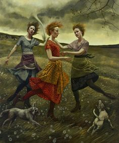 'Whirlwind' by Long Island-based American painter painter Andrea Kowch (b.1986). Acrylic on canvas, 72 x 60 in. via Hamptons Art Hub
