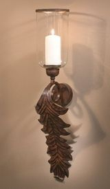 ME3009 - Bronze Acanthus Leaf Iron Candle Wall Sconce, Set of 2 - Candle Holders