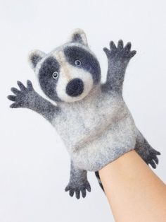 This raccoon hand puppet is wet felted by hands of pure extra fine merino wool with use of natural olive oil soap and warm water. The raccoon can be great Glove Puppets, Felt Puppets, Puppets For Kids, Puppet Crafts, Felt Crafts, Needle Felted Animals, Felt Animals, Wet Felting, Needle Felting