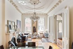 NYC Brownstone - I would decorate this with different furniture, but I love the insides of the brownstones...