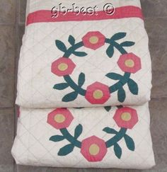 Cottage Charm 30s Wreath of Roses Applique Vintage Quilt 100 x 72 Pink Yellow | eBay