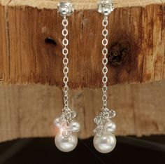 Dangle Earrings, Drop Pearl Earrings, Bridal Jewelry, Pearl Wedding Earrings, Pearl Bridal, Handmade Wedding Jewellery. $36.00, via Etsy.