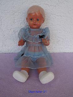 Alte SCHILDKRÖT Puppe 36/41 – ca. 1940er Jahre – hellblaues Kleid – ca. 41cm