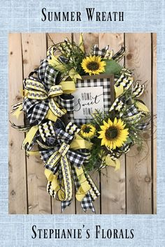 Summer wreath for front door This adorable summer wreath is sure to be an inviting place for your guests. It will be a great addition to your Summer Front Porch Décor. Double Door Wreaths, Summer Door Wreaths, Easter Wreaths, Deco Mesh Wreaths, Fall Wreaths, Wreaths Crafts, Ribbon Wreaths, Diy Wreath, Grapevine Wreath