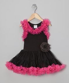 Take a look at this Black & Hot Pink Ruffle Swing Dress - Infant, Toddler & Girls by Tutus by Tutu AND Lulu on #zulily today!