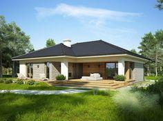 Projekt domu parterowego Oceania o pow. 114 m2 z obszernym garażem, z dachem kopertowym, z tarasem, sprawdź! Modern Bungalow House, Bungalow House Plans, Dream House Plans, Small House Plans, My Dream Home, Spanish House, Story House, Facade House, House Colors