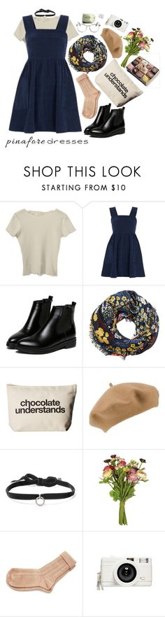 """""""60-Second Style: Pinafores"""" by weird-betty ❤ liked on Polyvore featuring Topshop, WithChic, MANGO, Dogeared, John Lewis, DANNIJO, OKA, April Showers, Lomography and pinafores"""