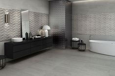 Łazienka szara ze srebrem | carrea.pl Wall Tiles, Contemporary, Modern, Bathtub, Luxury, Inspiration, Collection, Room Tiles, Standing Bath