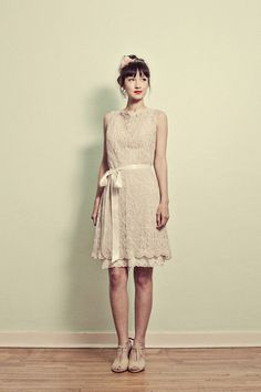 lace high neck short dress w/ bow at waist