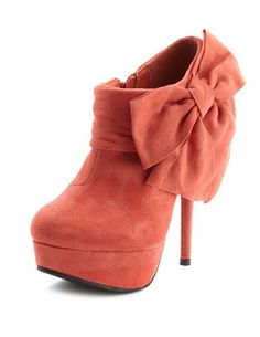 Umm, yeah... I want these. Also comes in cobalt. Sueded Side-Bow Ankle Bootie: Charlotte Russe