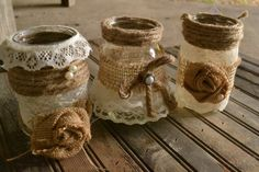 decorated mason jar - burlap, lace and pearls