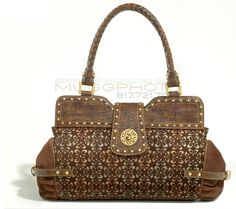House Of Dereon Handbags Printed Brown Leather Handbag With Gold Jewels