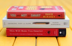 Book Spine Poetry vol. 2: Get Smarter by Maria Popova, brainpickings: Why we do silly things, a masterpiece on human rationality/irrationality, and a collection of essays on scientific concepts by big thinkers to improve your own thinking. #Book_Spine_Poetry #Maria_Popova #brainpickings #Get_Smarter