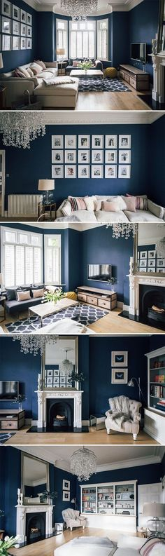 Victorian Villa Sitting Room Painted In Farrow & Ball Stifkey Blue | built in shelving | sitting room shutters | sitting room decor ideas | dark interior decor ideas | magazine storage ideas | gallery wall ideas | statement fireplace
