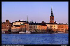 View of Gamla Stan with Riddarholmskyrkan. Stockholm, Sweden (color)