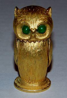 Vintage Goldtone Owl-Shaped Cigarette Lighter, Copyright Florenza.