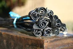One Dozen Hand Forged Mini Roses -- from FreakofMetal on Etsy.com -- $75