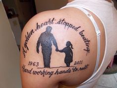 What does daddy's girl tattoo mean? We have daddy's girl tattoo ideas, designs, symbolism and we explain the meaning behind the tattoo. Daddys Girl Tattoo, Daddy Daughter Tattoos, Daddy Tattoos, Father Tattoos, Tattoos For Daughters, Tattoo Girls, Rip Tattoos For Dad, Rip Daddy, Grandfather Memorial Tattoos