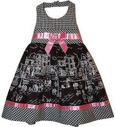 NWT Baby Girl BONNIE JEAN Poplin Sun Dress Bow Ribbon Trim Black White Pink 18M #BonnieBaby #ALine #CasualParty