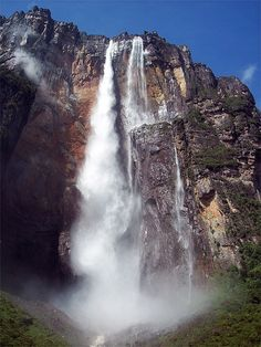 Bolívar Venezuela: Salto Angel or Angel Falls, is the tallest free-falling waterfall on earth. Approximate height of 3,212 ft	or 979 meters.