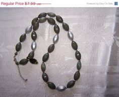Pretty olive green and grey  lucite bead necklace by vintagebyrudi