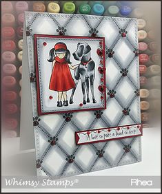 """Clearly Whimsy Stamps Collection """"An Unbreakable Bond"""" designed by Deb Davis - for Whimsy Stamps. This sweet girl and her dog themed set is perfect for sharing your love of friendship and the sadness of loss. Whimsy Stamps, Cat Cards, Animal Cards, Card Maker, Stamp Collecting, Clear Stamps, Sweet Girls, Bond, Card Ideas"""
