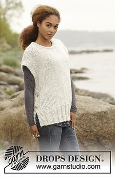 """Winter is Coming - Knitted DROPS vest with vents in the side and round neck in """"Cloud"""". Size S-XXXL. - Free pattern by DROPS Design Crochet Poncho Patterns, Crochet Shawls And Wraps, Baby Knitting Patterns, Lace Shawls, Scarf Patterns, Knit Vest, Crochet Cardigan, Knit Cowl, Drops Design"""
