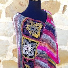 Boho Flower Poncho by Linda Bond Thomas - Free pattern until Thanksgiving Day!