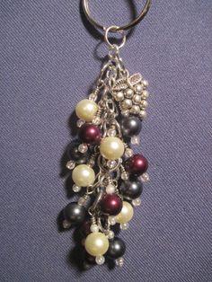 Burgundy Hematite and Ivory Pearl Glass Bead Purse Charm / Key Chain by FoxyFundanglesByCori, $10.00