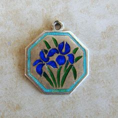 April Blue Iris Flower of the Month Enamel TLM Thomas L Mott Sterling Silver Bracelet Charm Vintage