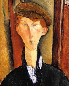 Young Man with Cap 1919 Painting by Italian artist Amedeo Modigliani .. #oilpainting #artists #painters #paintings #italianpainter #fineart #modigliani #amedeomodigliani