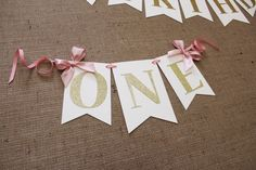 Pink and Gold Highchair Banner