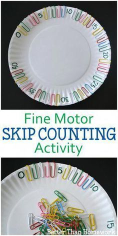 Fine Motor Skip Counting Activity Grab a paper plate and some paper clips for th. - Fine Motor Skip Counting Activity Grab a paper plate and some paper clips for th… Fine Motor Sk - Skip Counting Activities, Fine Motor Activities For Kids, Motor Skills Activities, Math For Kids, Preschool Learning, Kindergarten Activities, Fun Math, Fine Motor Skills, Teaching Math
