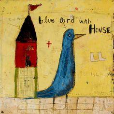 blue bird with house